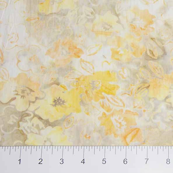 Sophie Batiks - Overlapping Flowers in Yellow by Banyan Batiks for Northcott