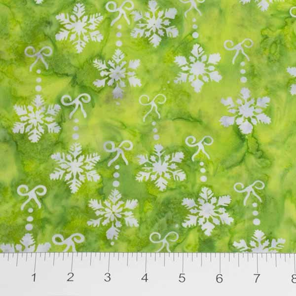Winter Light Batiks - Snowflakes in Frostbite Green by Banyan Batiks for Northcott