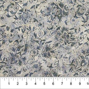 Alilah Batiks - Multi Floral in Shappire Stone by Banyan Batiks for Northcott