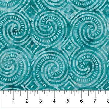 Island Vibes Batiks - Swirls in Teal Breeze by Linda J. Hahn of Frog Hollow Designs for Banyan Batiks from Northcott