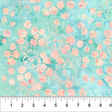 Patio Batiks - Small Flower in Seafoam Coral by Pat Fryer s for Banyan Batiks