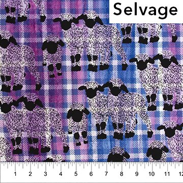 Kilts and Quilts Batiks - Sheep with Small Plaid in Lilac Blue by Patience Griffin for Northcott