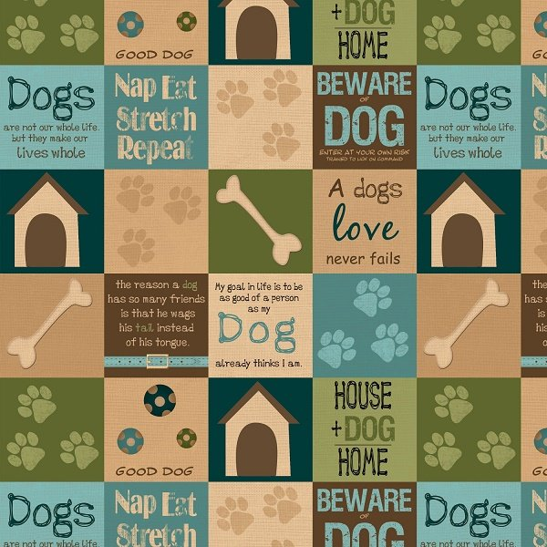 It's a Dog's Life - Blocks in Teal by Jennifer Pugh for Wilmington Prints
