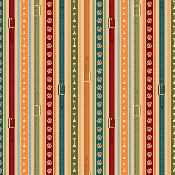 It's a Dog's Life - Ticking Stripe on Ivory by Jennifer Pugh for Wilmington Prints