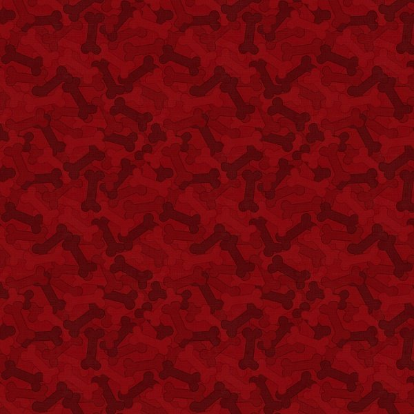 It's a Dog's Life - Bones in Red by Jennifer Pugh for Wilmington Prints