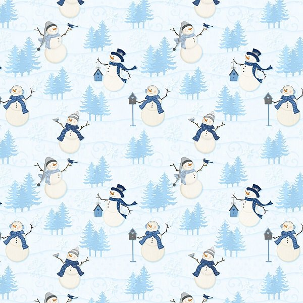 Welcome Winter - Winter Scenic in Light Blue by Jennifer Pugh for Wilmington Prints