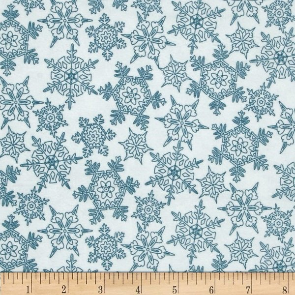 Frolic in the Snow Flannel - Snowflakes on White by Kris Lammers for Maywood Studio