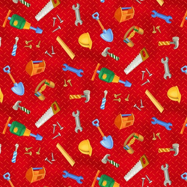 From the Ground Up - Tossed Tools on Red by Viv Eisner for Wilmington Prints