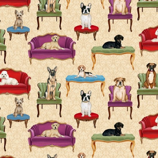 Faithful Friend - Dogs on Couches on Ecru by Danielle Murray for Blank Quilting