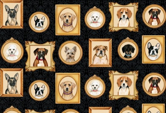 Faithful Friend - Dog Portraits on Black by Danielle Murray for Blank Quilting