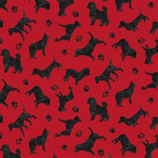 Faithful Friend - Mini Dog Silhouettes on Red by Danielle Murray for Blank Quilting