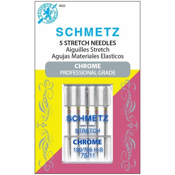 #4022 Chrome Stretch Needles Carded - 70/11 - 5 count by Schmetz