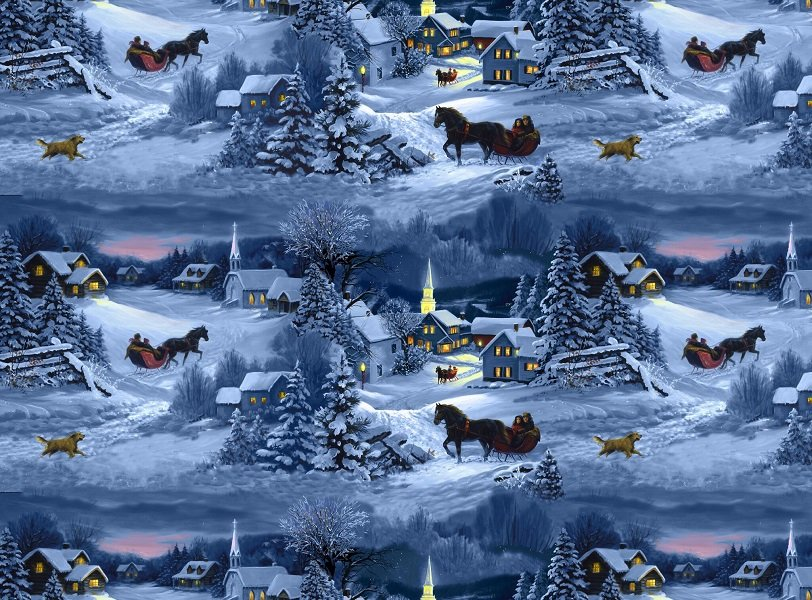 Let It Snow - Night Scene with Horses by Linda Picken for Blank Quilting
