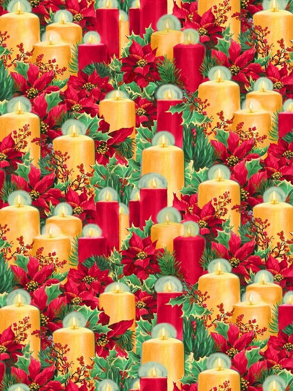 Let It Snow - Candles in Multi by Linda Picken for Blank Quilting