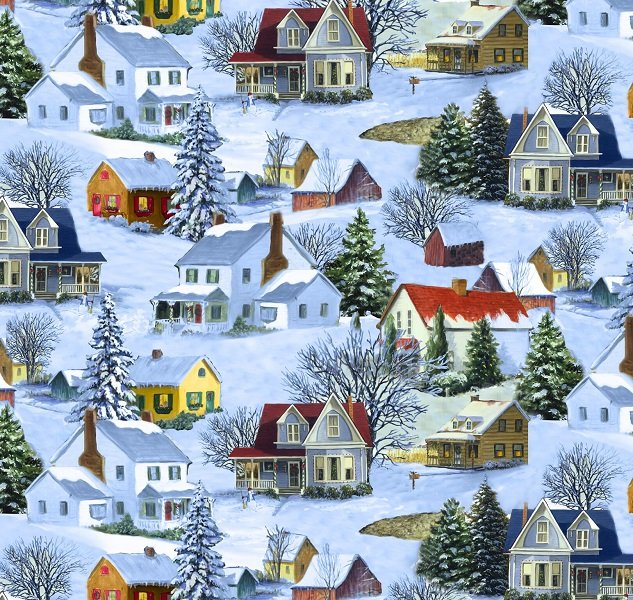 Let It Snow - Homes in Multi by Linda Picken for Blank Quilting