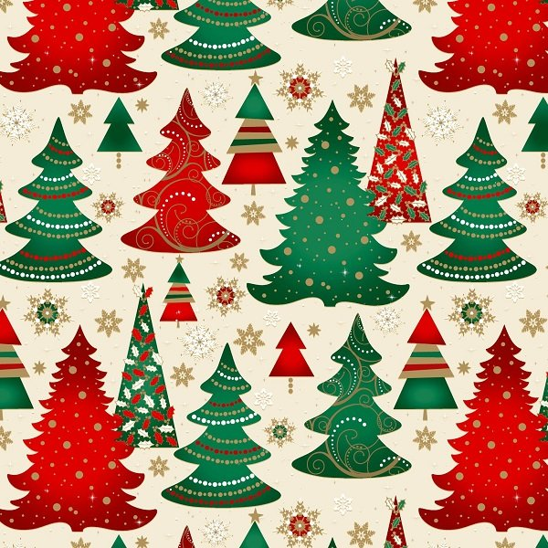 Elegant Christmas - Christmas Trees on Cream by Gina Linn for Blank Quilting