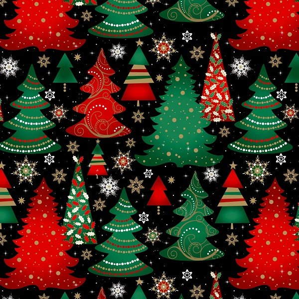 Elegant Christmas - Christmas Trees on Black by Gina Linn for Blank Quilting