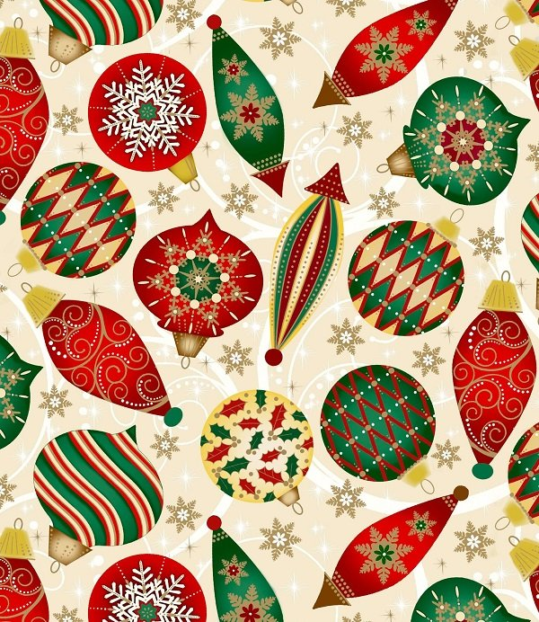 Elegant Christmas - Christmas Ornaments on Cream by Gina Linn for Blank Quilting