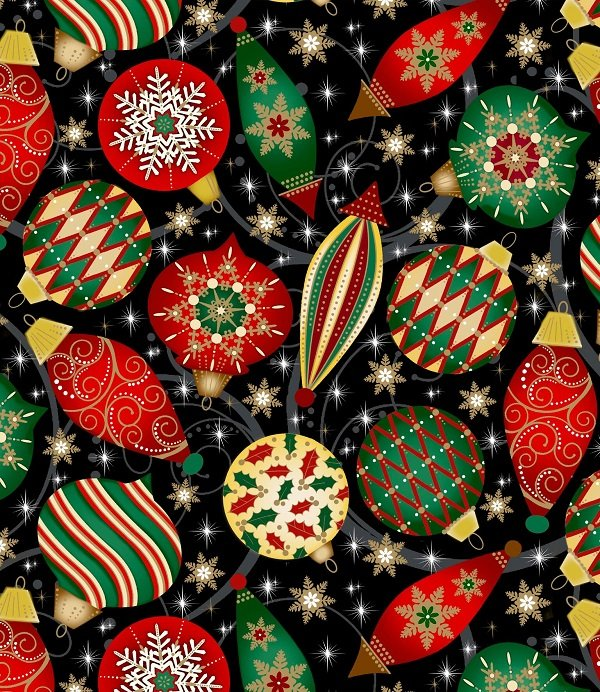 Elegant Christmas - Christmas Ornaments on Black by Gina Linn for Blank Quilting