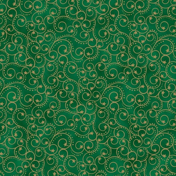 Elegant Christmas - Scroll on Green by Gina Linn for Blank Quilting
