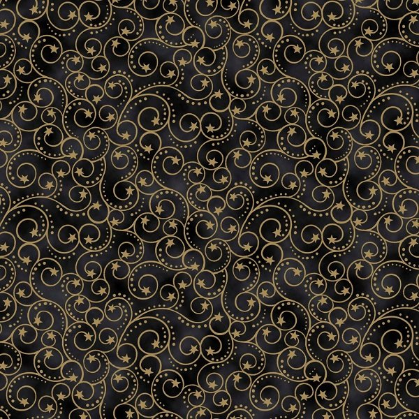 Elegant Christmas - Scroll on Black by Gina Linn for Blank Quilting