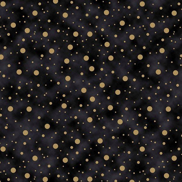 Elegant Christmas - Dots on Black by Gina Linn for Blank Quilting