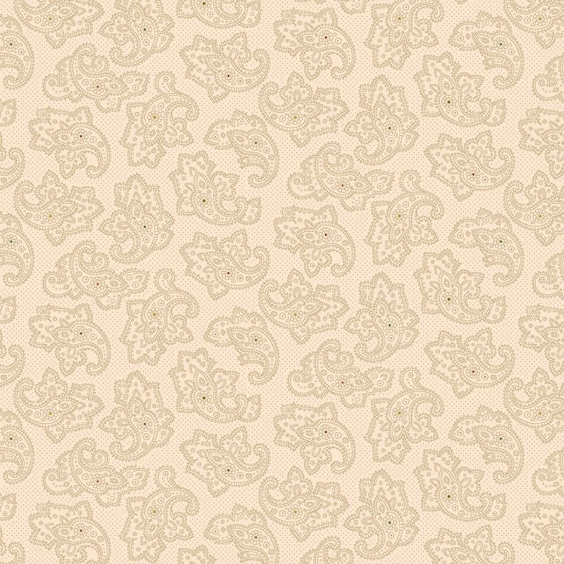 Parlor Pretties Wide Back (108) - Foulard Paisley in Beige by Kim Diehl for Henry Glass