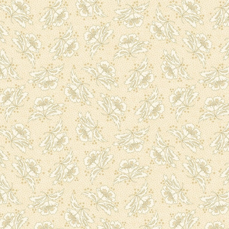 Parlor Pretties Wide Back (108) - Stylized Floral in Beige by Kim Diehl for Henry Glass