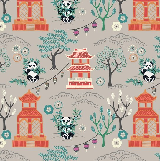 Minshan - Panda Temple on Light Grey by Lewis & Irene