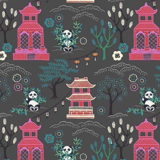 Minshan - Panda Temple on Dark Grey by Lewis & Irene