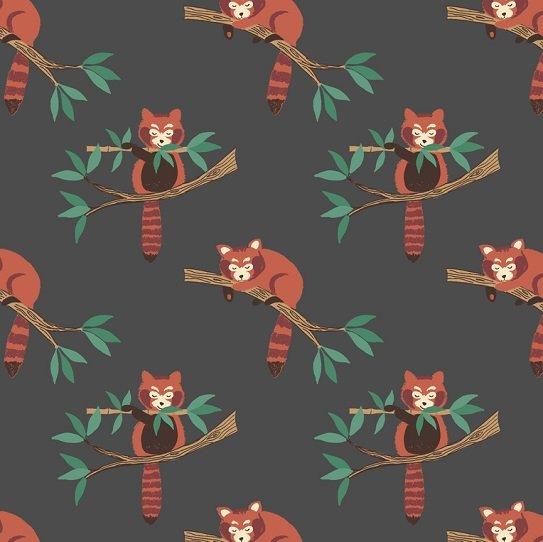 Minshan - Red Panda on Dark Grey by Lewis & Irene