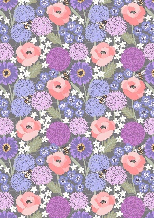 Bee Kind - Allium & Poppies on Warm Grey by Lewis & Irene