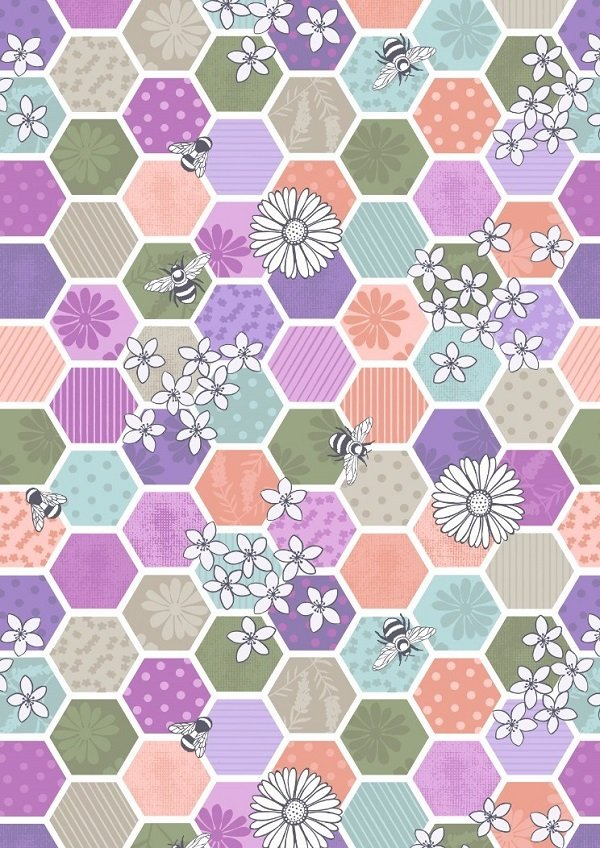 Bee Kind - Bee Hexagons in Greens by Lewis & Irene