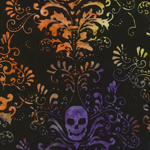 Tonga Haunted Batiks - Haunted Skull Damask on Black by Timeless Treasures
