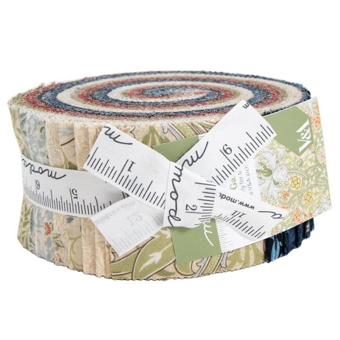 Jelly Roll - Morris Garden (40 x 2.5 strips) by V and A Reproduction for Moda