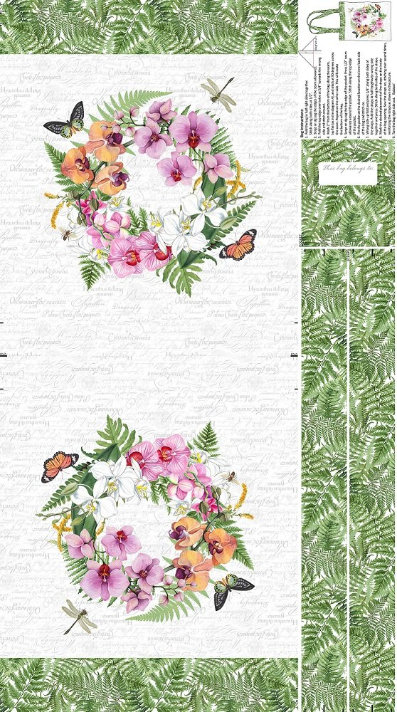 Tote Panel - Orchids in Bloom (24 x 43) in White Multi by Michel Design Works for Northcott