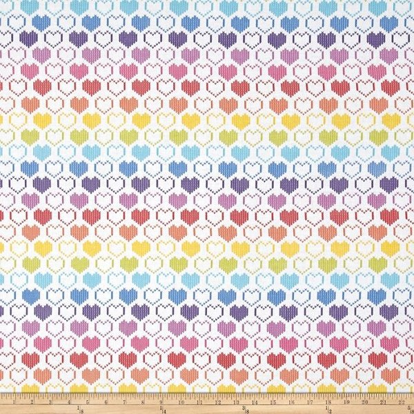 Knit Hearts - Hearts in Rainbow by Timeless Treasures