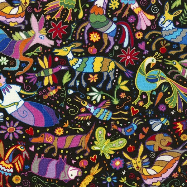 Mexican Joy - Animals on Black by Marti McGiniss for Timeless Treasures