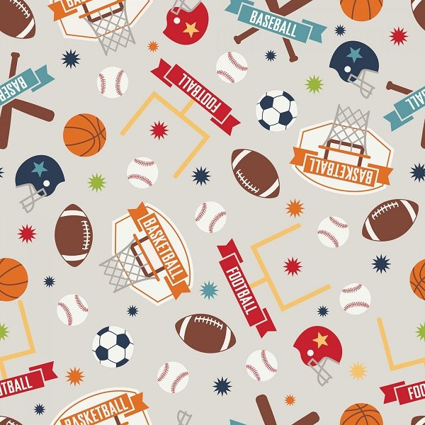 Game Day - Sports Main in Gray by Lori Whitlock for Riley Blake