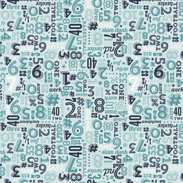 Game Day - Sports Numbers in Aqua by Lori Whitlock for Riley Blake
