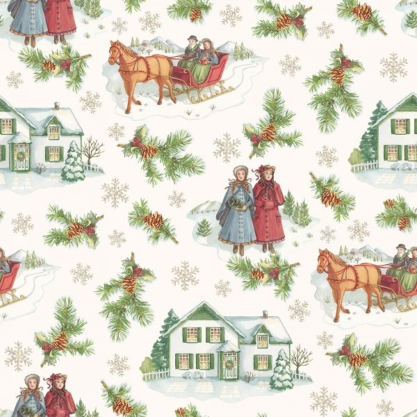 Anne of Green Gable Christmas Collection - Main Print on Beige from Penny Rose Fabrics