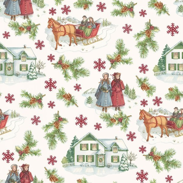Anne of Green Gable Christmas Collection - Main Print in Red from Penny Rose Fabrics