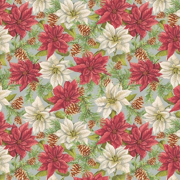 Anne of Green Gable Christmas Collection - Poinsettias on Gray from Penny Rose Fabrics