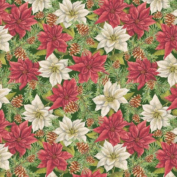 Anne of Green Gable Christmas Collection - Poinsettias on Green from Penny Rose Fabrics