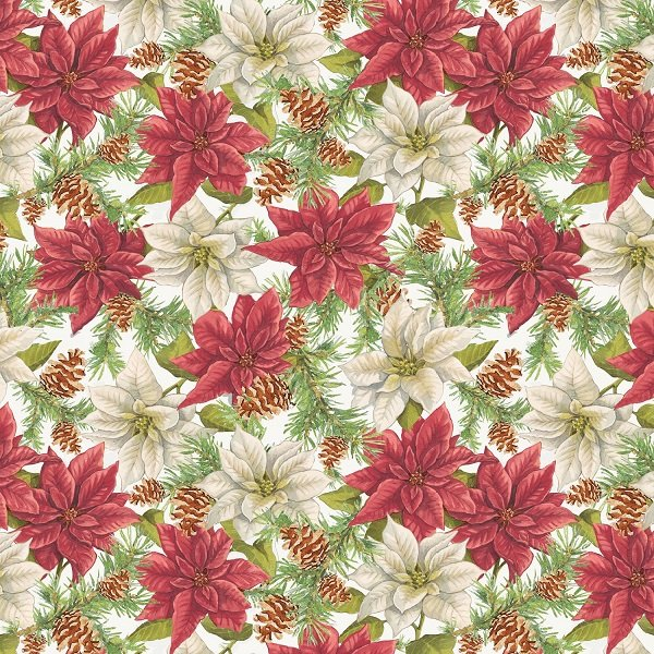 Anne of Green Gable Christmas Collection - Poinsettias on White from Penny Rose Fabrics