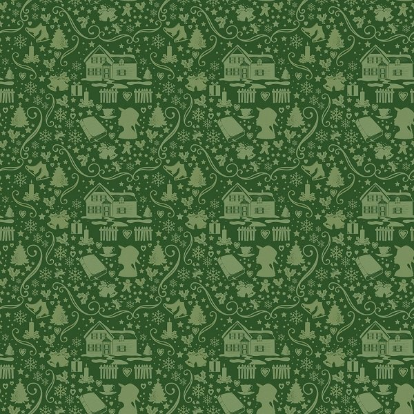 Anne of Green Gable Christmas Collection - Silhouette in Green from Penny Rose Fabrics