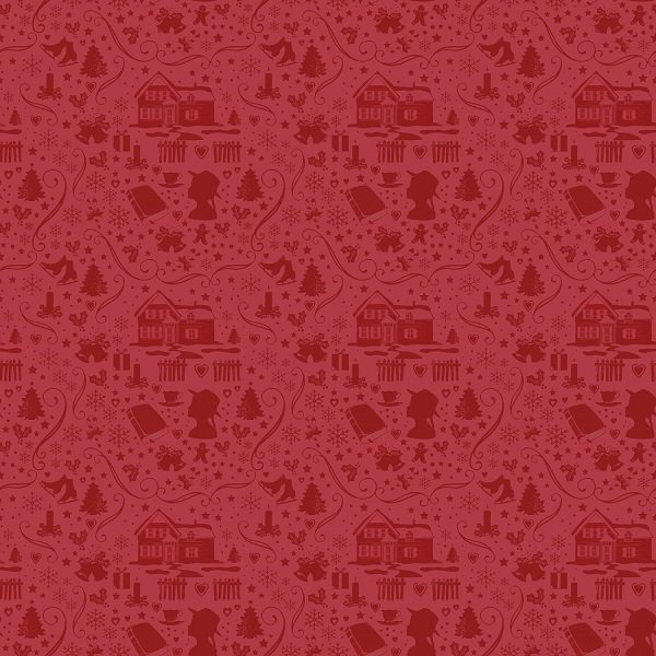 Anne of Green Gable Christmas Collection - Silhouette in Red from Penny Rose Fabrics