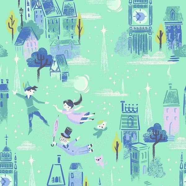 Neverland - Main Scene in Mint by Jill Howarth for Riley Blake Designs