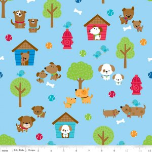 Puppy Love - Main in Blue by Doodlebug Design Inc for Riley Blake