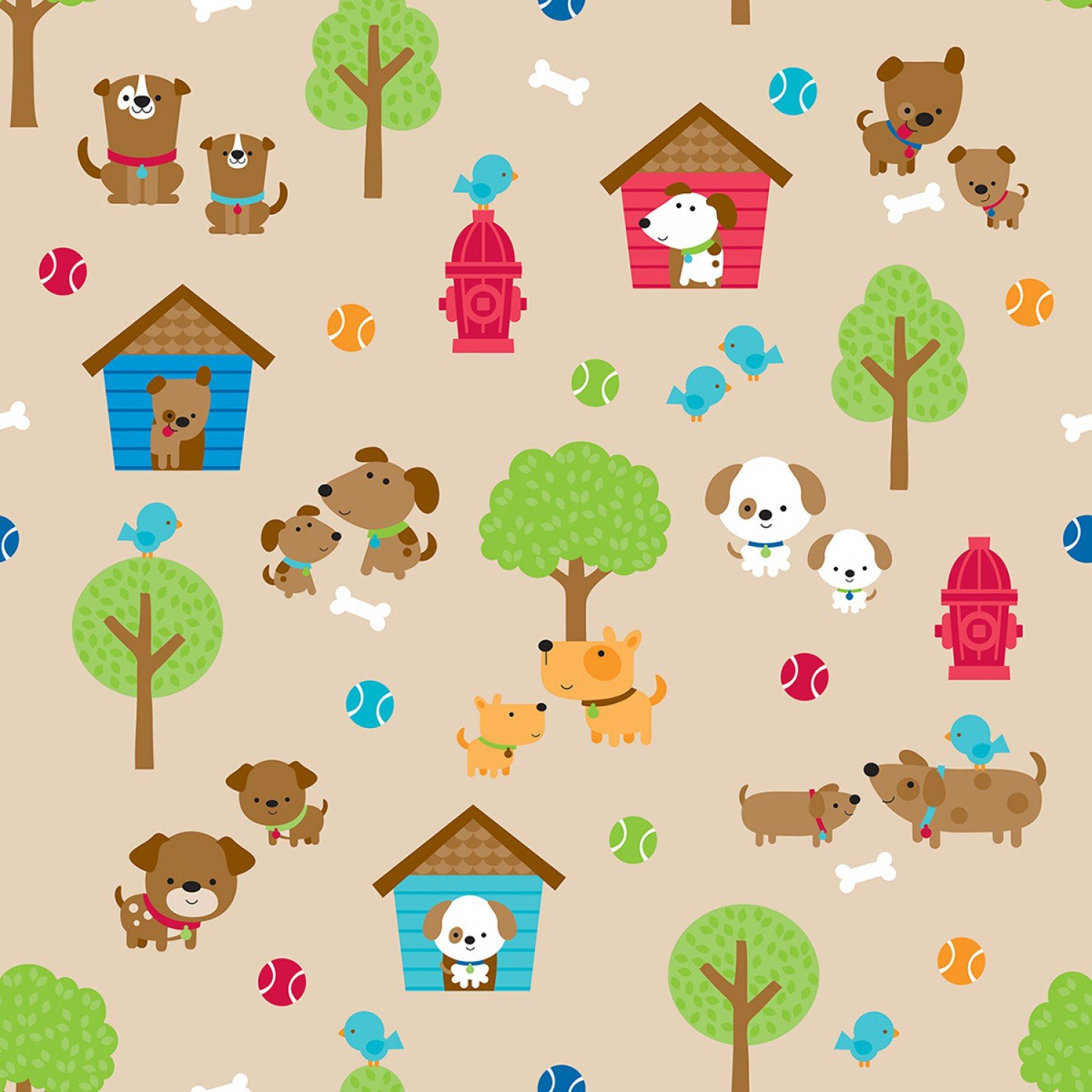 Puppy Love - Main in Tan by Doodlebug Design Inc for Riley Blake